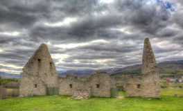 The Cairngorns castle ruins Ruthven Barracks Badenoch Scotland UK fortification in HDR stock images