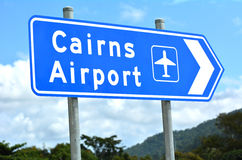 Cairns airport Queensland Australia. Cairns airport traffic sign in Queensland Australia against the Atherton Tableland mountains region royalty free stock image