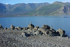 Cairns At A Pretty Yukon Lake Stock Photography
