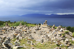 Cairns on the Atlantic coast. Stock Image