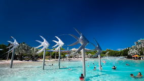 CAIRNS, AUS - 27 MAR 2016. Tropical swimming lagoon on Esplanade in Cairns. stock footage
