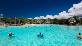 CAIRNS, AUS - 27 MAR 2016. Tropical swimming lagoon on Esplanade in Cairns. stock video