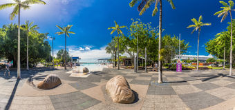 CAIRNS; AUSTRALIA - 17 APRIL 2017. Tropical swimming lagoon on t. He Esplanade in Cairns with artificial beach; Queensland; Australia Stock Photography