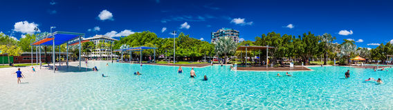 CAIRNS, AUSTRALIA - 27 MARCH 2016. Tropical swimming lagoon Royalty Free Stock Image