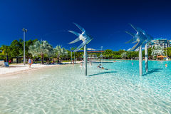 CAIRNS, AUSTRALIA - 27 MARCH 2016. Tropical swimming lagoon on t Stock Images