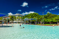 CAIRNS, AUSTRALIA - 27 MARCH 2016. Tropical swimming lagoon on t Royalty Free Stock Images