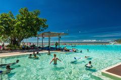 CAIRNS, AUSTRALIA - 27 MARCH 2016. Tropical swimming lagoon on t Royalty Free Stock Photo