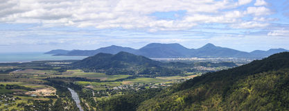 Cairns City Panorama. Panorama of Cairns with Barron River and Trinity Inlet stock photography