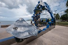 Cairns Esplanade Art Piece. Depicting a manta ray Royalty Free Stock Images