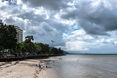Cairns Esplanade Boardwalk. During low tide Stock Photos