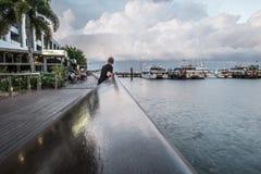 Cairns Esplanade Boardwalk. During low tide Stock Photo
