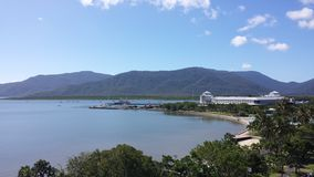 Cairns Esplanade, North Queensland. View across Cairns Esplanade looking towards East Trinity. The Pier Complex and Lagoon pool in the foreground, wharf area to Royalty Free Stock Image