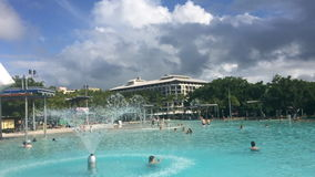 Cairns Esplanade Swimming Lagoon in Queensland Australia stock video footage