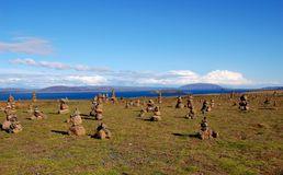 Cairns' field in Iceland Stock Photos