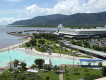 Cairns Lagoon and Pier. Elevated view of the Cairns swimming lagoon, pier marketplace and Trinity Inlet stock photography