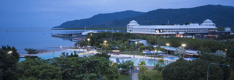 Cairns by Night. View of Cairns Esplanade and Lagoon at dusk royalty free stock photos