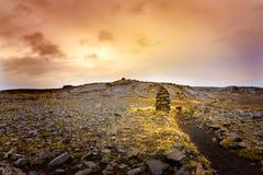 Cairns piles of volcanic stones Stock Photo