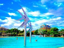 Cairns pool on the esplanade Queensland Australia water sculpture summer Royalty Free Stock Photo