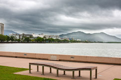 Cairns city waterfront. Scenic view of Cairns city waterfront looking towards the hospital, Queensland, Australia stock image