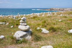 Cairns and stones at the French coast Stock Image