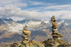Cairns in the Swiss Alps Stock Image