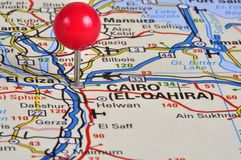 Cairo. The capitol of Egypt pinned with a map pin royalty free stock images