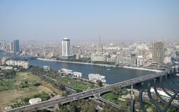 Cairo aerial view with Nile river Royalty Free Stock Photography