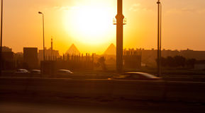 Cairo city and pyramids in background Stock Photos
