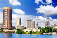 Cairo city, seafront of Nile River. Egypt. Stock Images