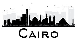 Cairo City skyline black and white silhouette. Stock Images