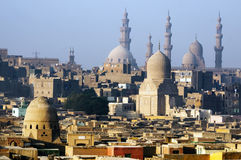 Cairo city skyline and Pyramids Stock Photo