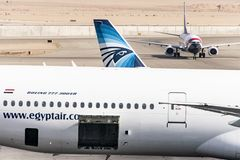 Cairo EGYPT 26.05.2018 - Egypt Air Airplane standing to parking position at the international airport of Kairo.  stock photos