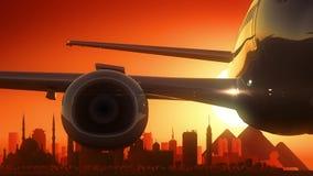 Cairo Egypt Airplane Take Off Skyline Golden Background Stock Photo