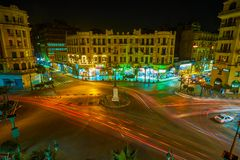 The evening traffic in Tallat Harb square in Cairo, Egypt Royalty Free Stock Photo