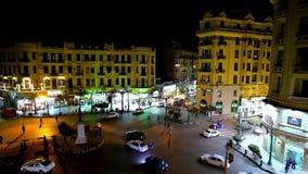 Night in Cairo city center, Egypt stock video