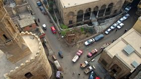 Crossroad in old islamic Cairo stock video footage