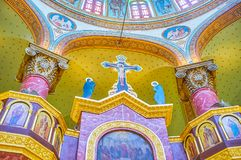 The greek church in coptic Cairo, Egypt. CAIRO, EGYPT - DECEMBER 23, 2017: The modern greek style decorations of orthodox St George Church in Coptic destrict, on Stock Images