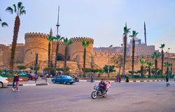 CAIRO, EGYPT - DECEMBER 21, 2017: Salah El Deen Square is nice place to observe the Cairo Citadel with its great Bab Al-Azab gate stock photos