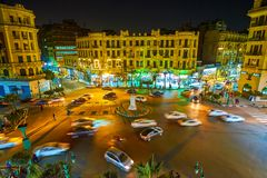 The night view on Tallat Harb Square in Cairo, Egypt Stock Images