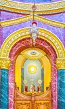 The view on Sanctuary throuth the Holy Doors in St George Church. CAIRO, EGYPT - DECEMBER 23, 2017: The view throuth the Holy Doors on the Sanctuary of St George Stock Image