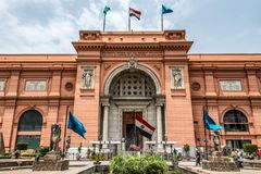 CAIRO, EGYPT 25.05.2019 Exterior of the Egyptian Museum Antiquities one of the most famous museums of the world stock image