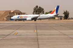 Cairo EGYPT 26.05.2018 - Fly Egypt Airplane standing to parking position at the international airport of Kairo.  royalty free stock images
