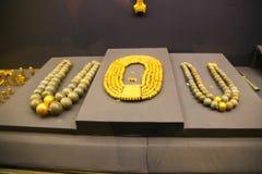 Beaded Necklaces -  King Tutankhamen treasure, Egyptian museum. Cairo, Egypt Jan. 2018 Ancient gold pieces of King Tutankhamen treasure Egyptian museum Stock Photo