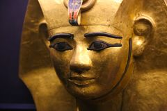 Gold mask of King Tutankhamen. Cairo, Egypt Jan. 2018 Ancient gold pieces of King Tutankhamen treasure Egyptian museum Stock Photos