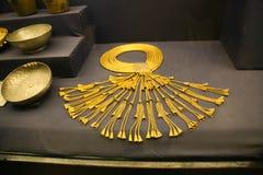 Gold Necklace -  King Tutankhamen treasure, Egyptian museum. Cairo, Egypt Jan. 2018 Ancient gold pieces of King Tutankhamen treasure Egyptian museum Stock Images
