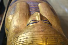 Goldy Coffins at Egyptian museum. Cairo, Egypt Jan. 2018 Ancient gold and silver antiquities - Egyptian museum Royalty Free Stock Photo