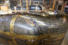 Goldy royal coffin - Egyptian museum. Cairo, Egypt Jan. 2018 Ancient gold and silver antiquities - Egyptian museum Stock Images