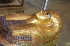 Royal Goldy coffin  - Egyptian museum. Cairo, Egypt Jan. 2018 Ancient gold and silver antiquities - Egyptian museum Stock Image