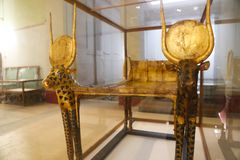 Goldy bed of Taut Ankh Amon treasure - Egyptian museum. Cairo, Egypt Jan. 2018 Ancient gold and silver pieces of Taut Ankh Amon treasure Egyptian museum Royalty Free Stock Photos
