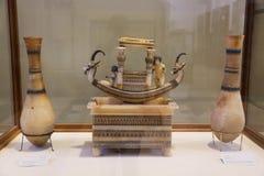 Ancient antiquities of Tutankhamon treasure at Egyptian museum. Cairo, Egypt Jan. 2018 Ancient gold and silver pieces of Tut Ankh Amon treasure Egyptian museum Royalty Free Stock Photos